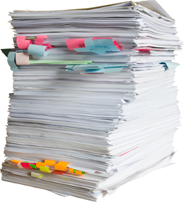 High stack of papers and forms
